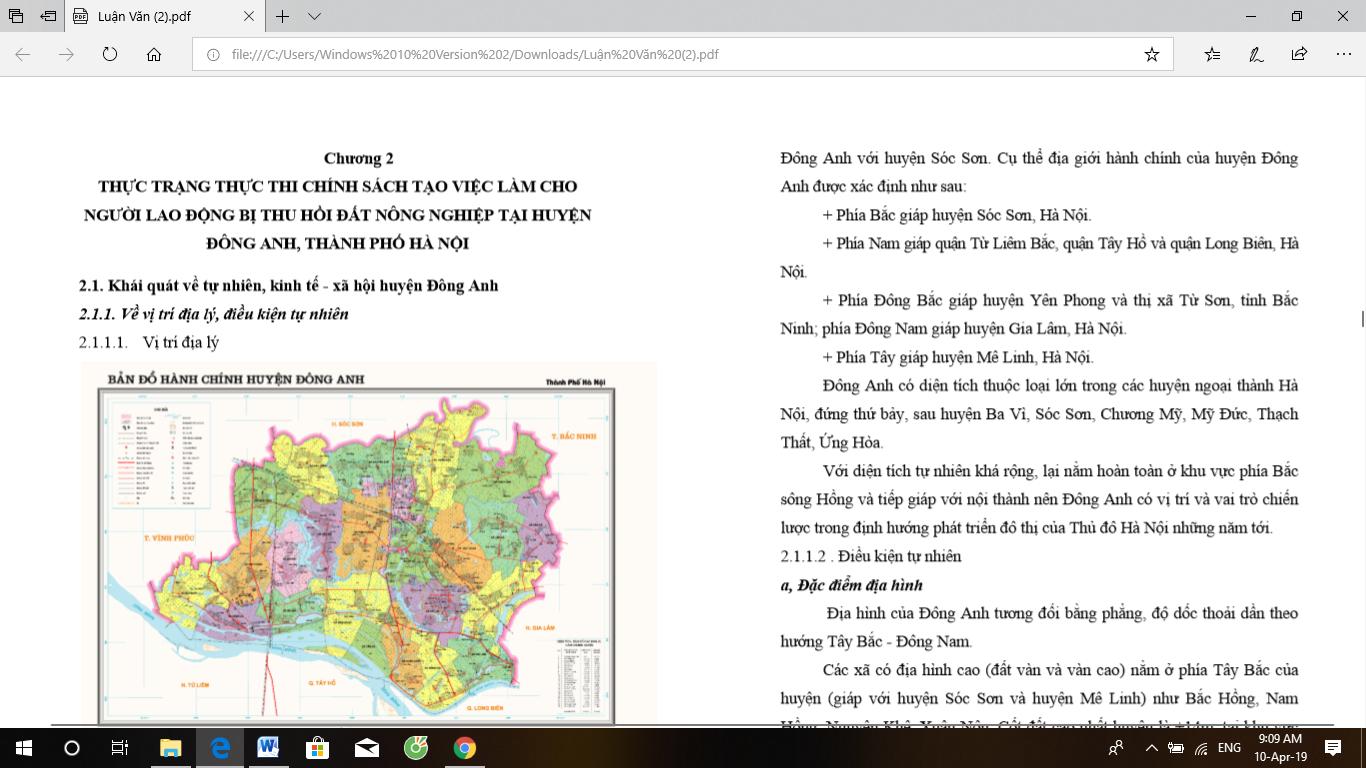 Luận văn thạc sĩ: Thực thi chính sách tạo việc làm cho người lao động bị thu hồi đất nông nghiệp trên địa bàn huyện Đông Anh, thành phố Hà Nội