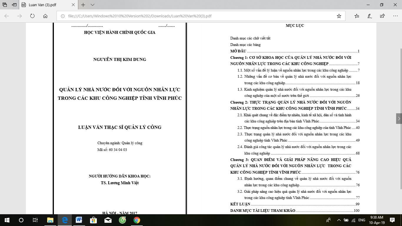 Luận văn thạc sĩ: Quản lý nhà nước đối với nguồn nhân lực trong các Khu công nghiệp tỉnh Vĩnh Phúc